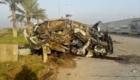 Το δεύτερο όχημα της συνοδείας του Σουλεϊμανί. Είναι διαλυμένο ως αποτέλεσμα έκρηξης.