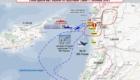 Χάρτης της πορείας του μοιραίου IL-20, της ισραηλινής επίθεσης και των πλοίων στην περιοχή, όπως δόθηκε στη δημοσιότητα από το Υπουργείο Άμυνας της Ρωσίας σήμερα.